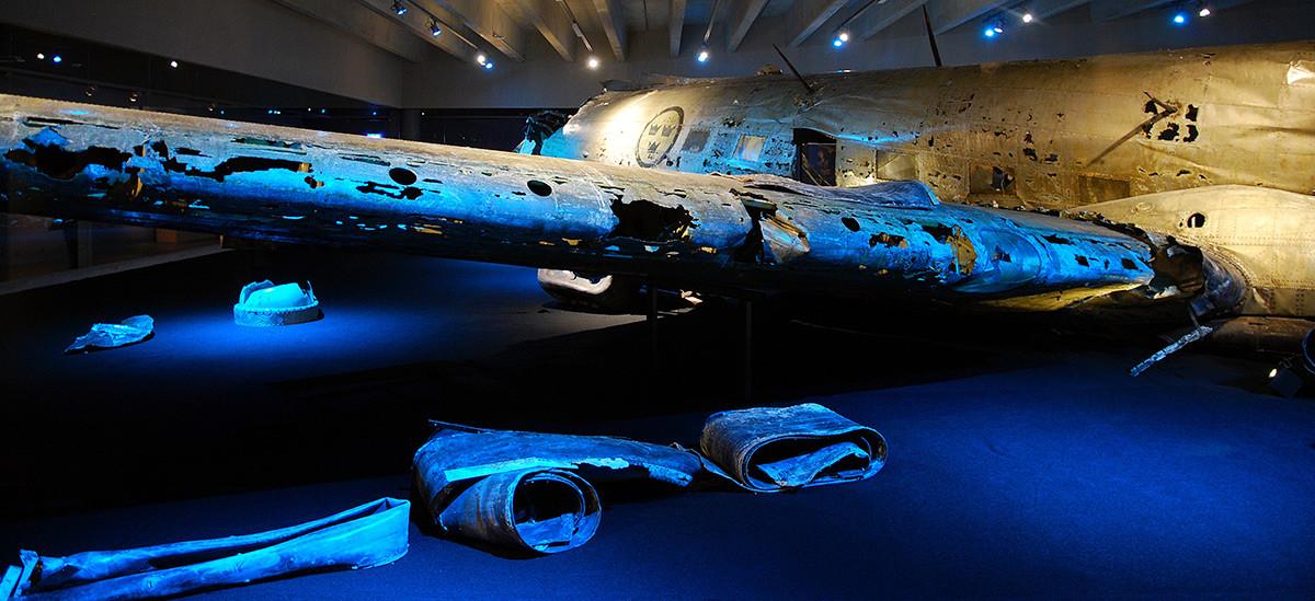 Razbitine švedskega letala DC-3 v Muzeju švedskega letalstva v Linköpingu
