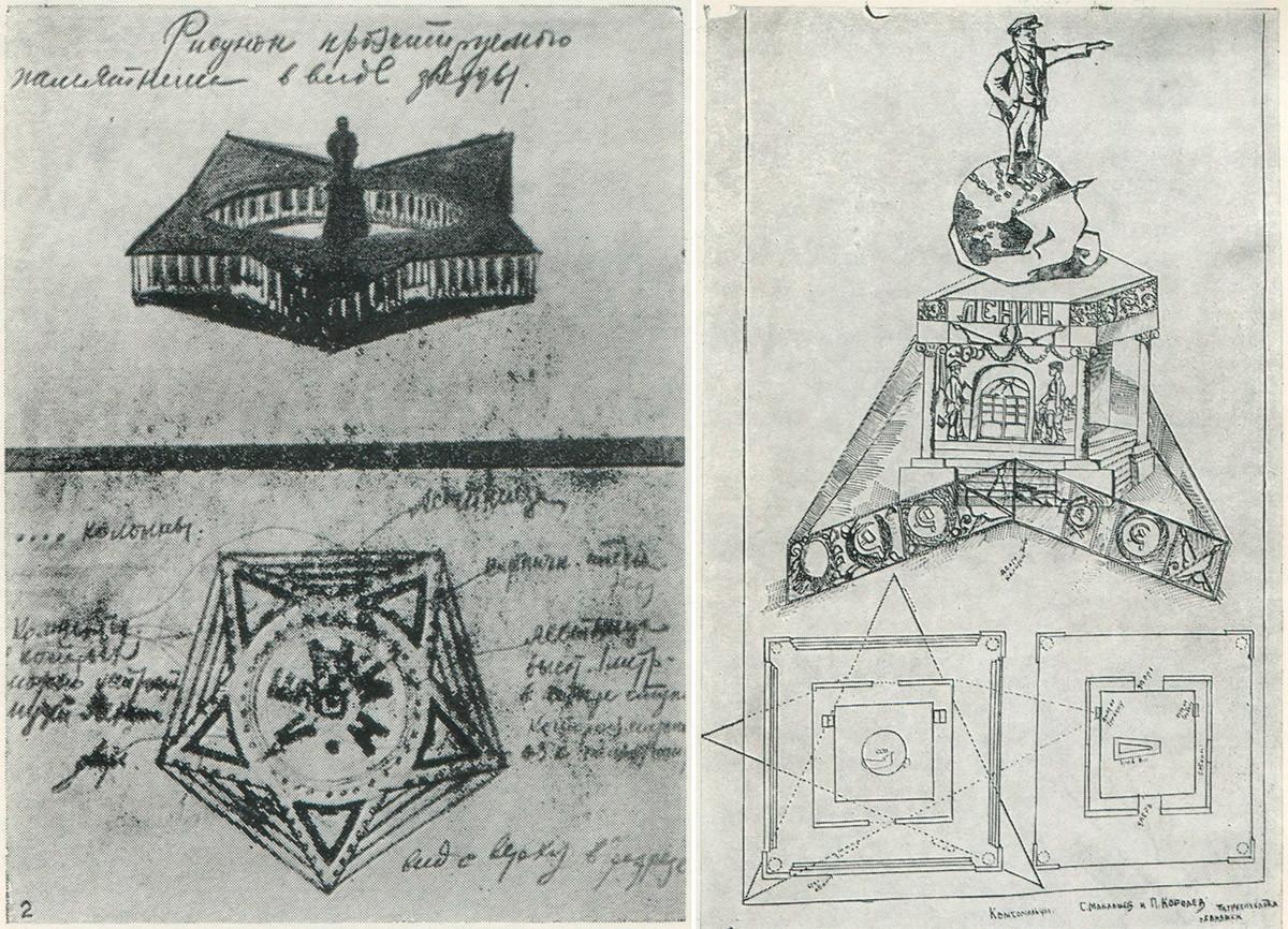 P. N. Baranov, S. Maklashov e P. Korolev, il mausoleo a forma di stella