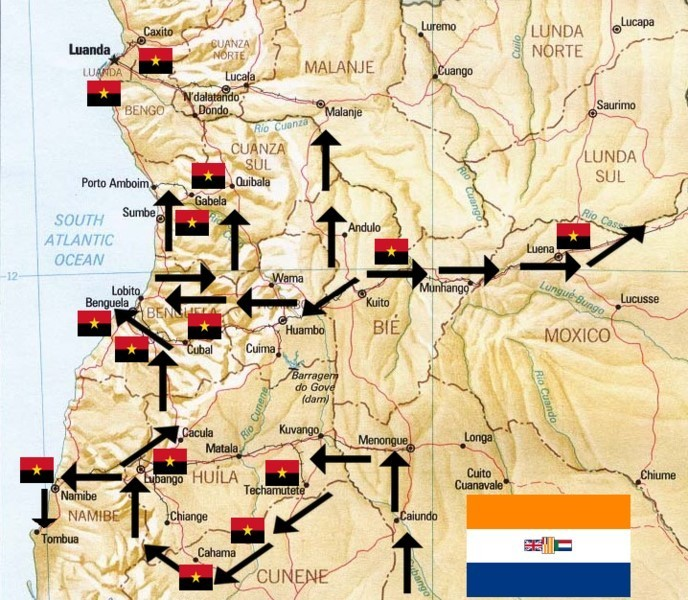 Mapa do movimento das tropas sul-africanas durante a Operação Savana (1975-76)