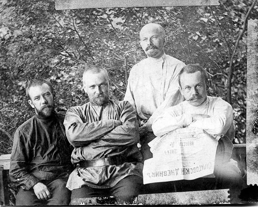 Ritratto di quattro uomini del governatorato di Saratov, 1900 circa