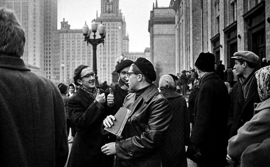 "Moscow University students play the game ""Guess who?"", 1960s"