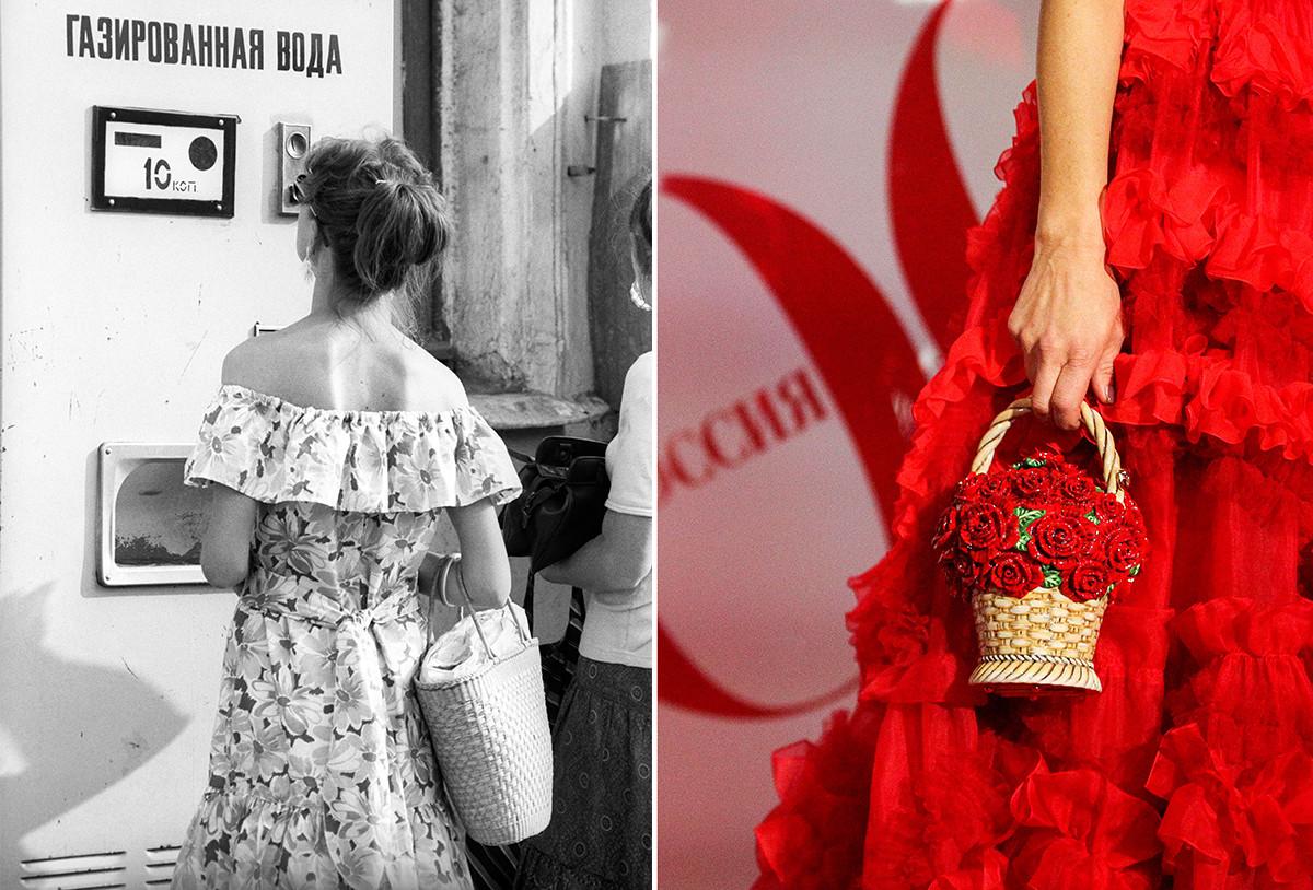 A sinistra, una ragazza sovietica con una borsa di vimini; a destra, una ragazza dei giorni nostri con un cestino intrecciato