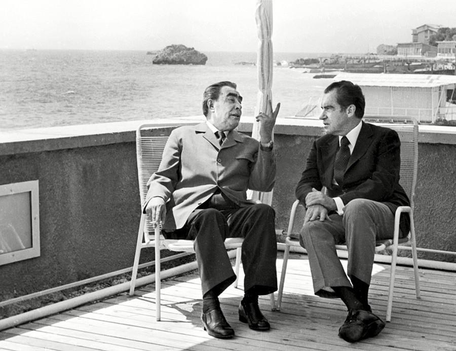 Leonid Brezhnev and U.S. President Richard Nixon in Crimea, June 29, 1974