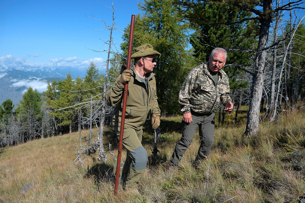October 7, 2019. Russian President Vladimir Putin during a walk in the taiga
