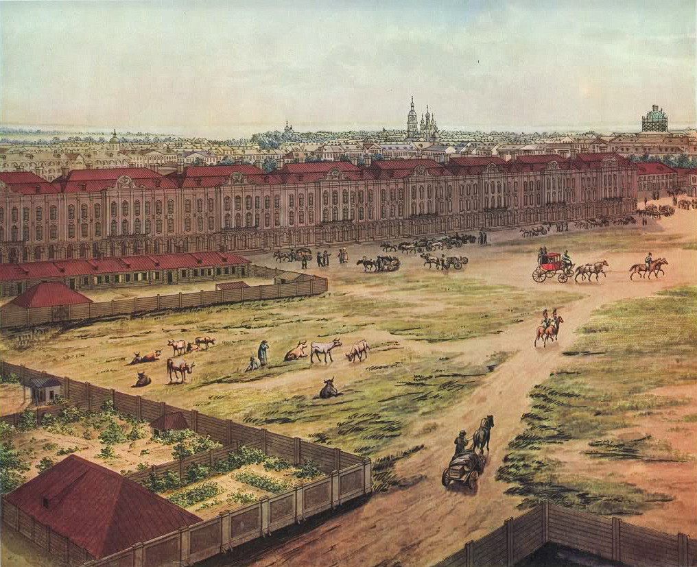A. Tozeli. Panorama Peterburga. Akvarel. 1820. List 6.  Zgrada Dvanaest kolegija.