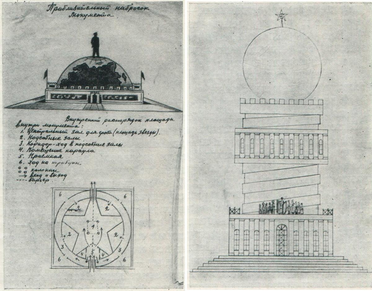 Links: Ein Mausoleum-Projekt von V. Gawrilin. Rechts: Ein Mausoleum-Projekt von V. Gubanow.
