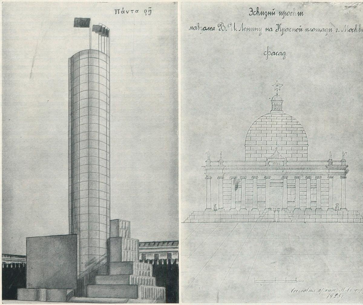 Links: M.Rostowskijs Turm. Rechts: Ein Projekt von P. Beloserskij