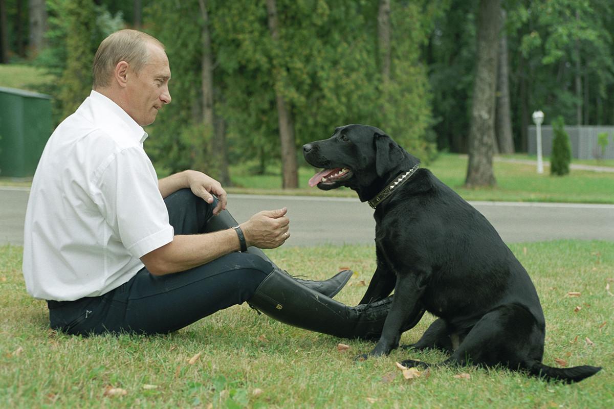 Владимир Путин с собакой Кони