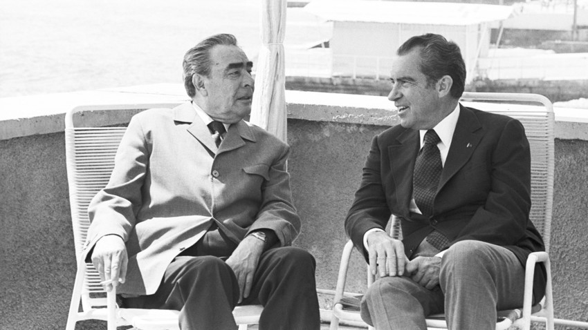 Secretário-geral Leonid Brejnev e presidente dos Estados Unidos Richard Nixon