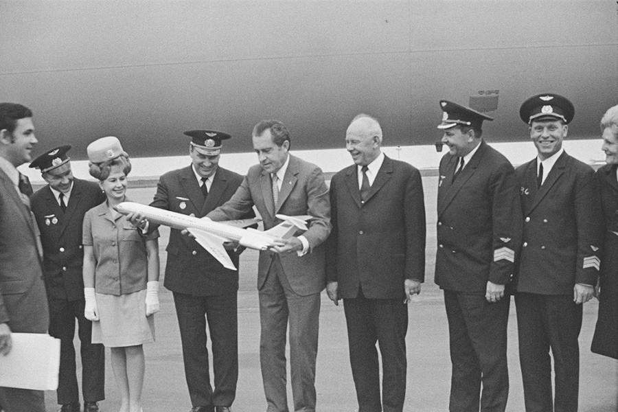 Primeira visita oficial de um presidente dos EUA em exercício à URSS. Richard Nixon e Aleksêi Kossiguin, 22 de maio de 1972