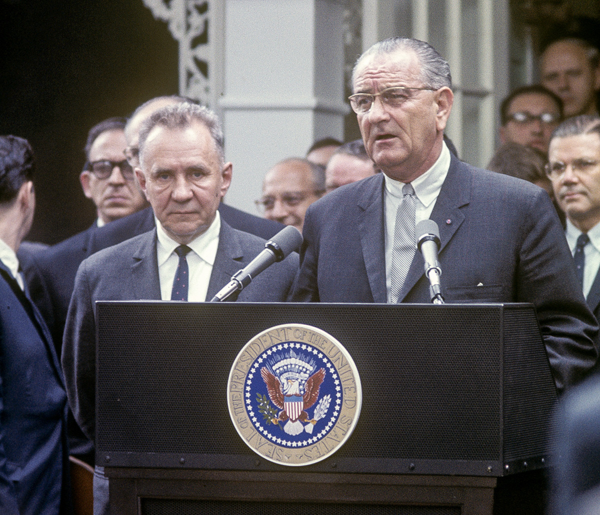 Alexei Kosygin and President Lyndon Johnson speaking at the podium at Glassboro Summit, Glassboro, NJ, June 1967