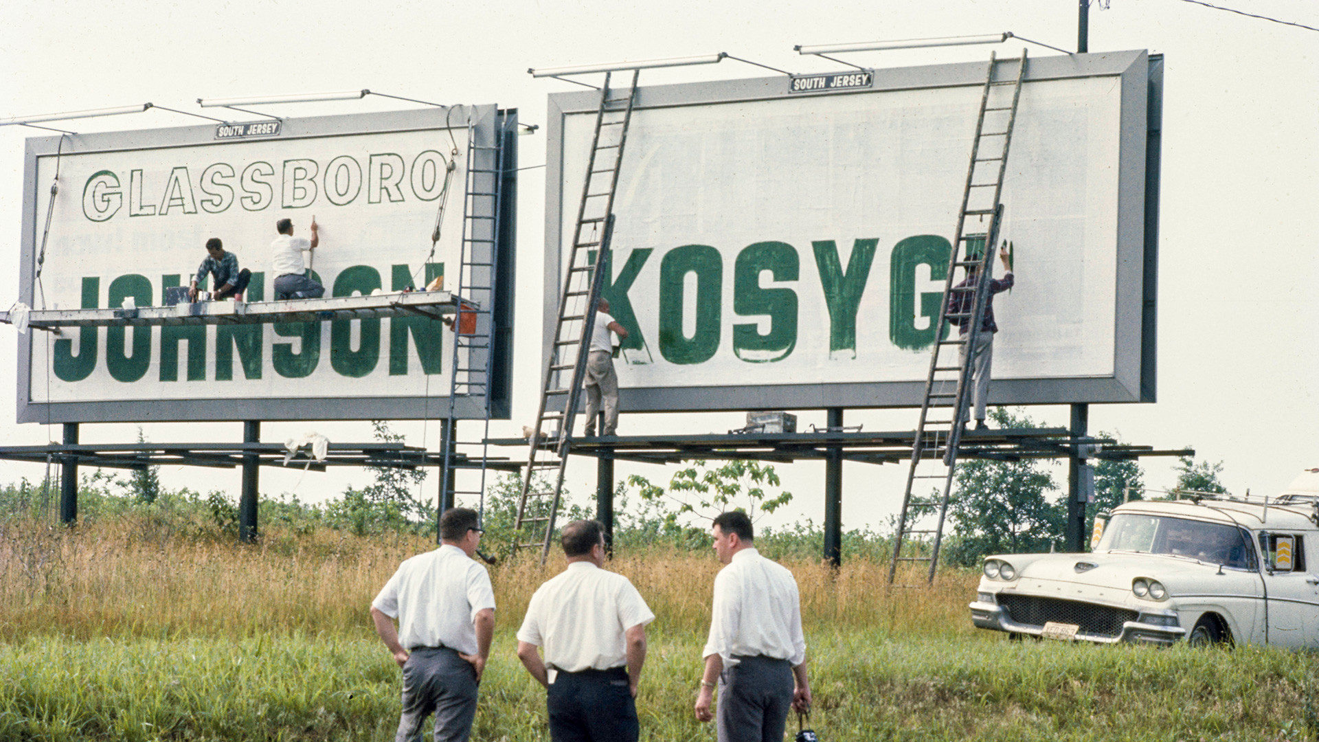 Welcome signs with the names Johnson and Kosygin on the highway during the Glassboro Summit Conference on Soviet-U.S. relations in Glassboro