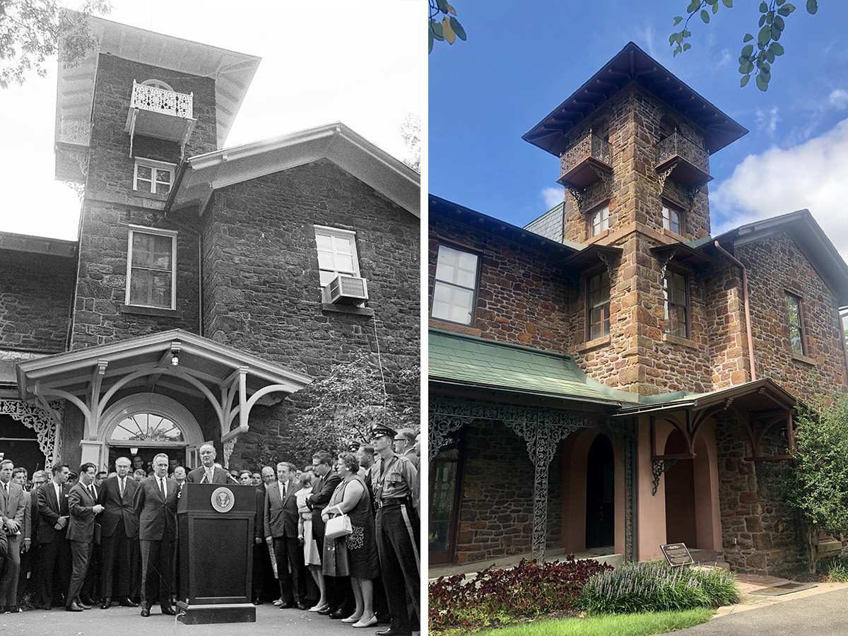 Lijevo: Predsjednik Lyndon Johnson ispred vile Hollybush, 23. lipnja 1967. Desno: Isto mjesto danas. Sveučilište Rowan, 2020.