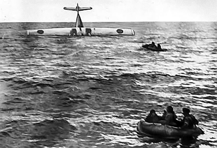 Foto de la Catalina que fue derribada por el MiG-15 soviético.