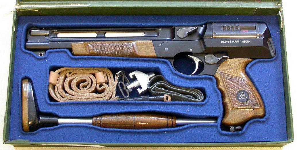 """La pistola TOZ-81 """"Mars""""; oggi ne esiste un solo esemplare, custodito nell'ufficio tecnico della fabbrica di armi di Tula"""