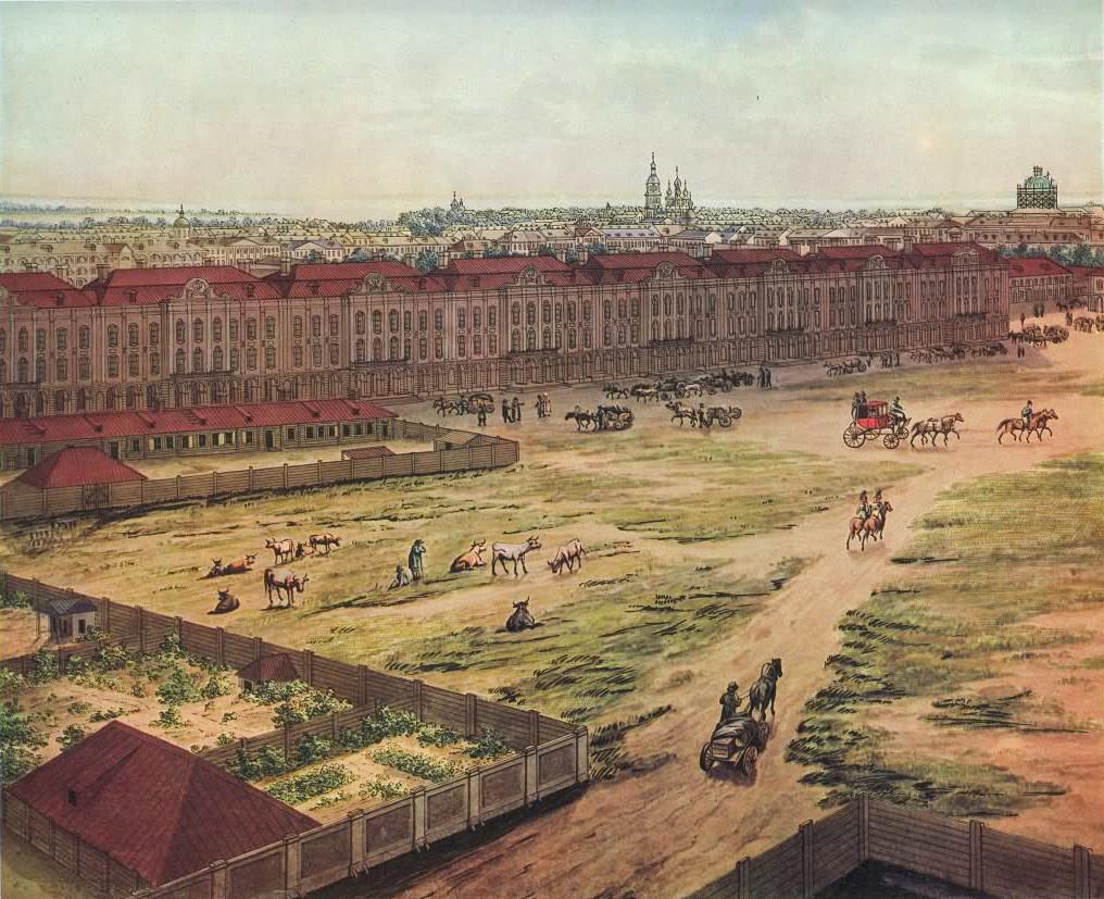 Panorama de Saint-Pétersbourg, aquarelle d'Angelo Toselli, 1820. On peut y voir les bâtiments des Douze Collèges.