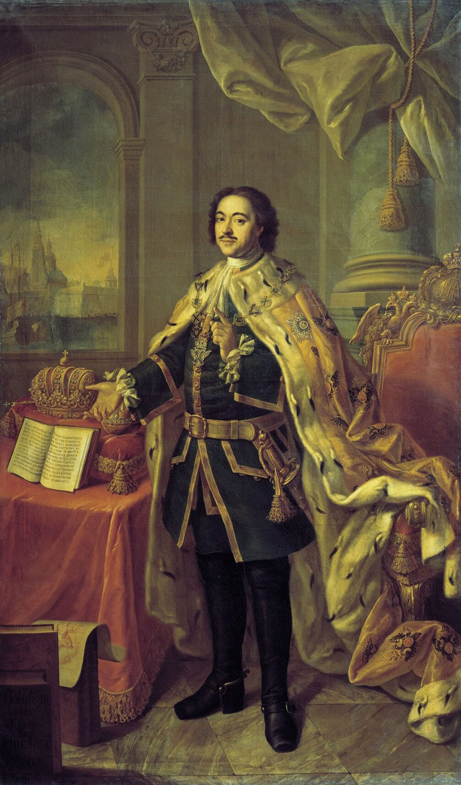 Peter the Great with the Imperial regalia, by A. Antropov, 1770