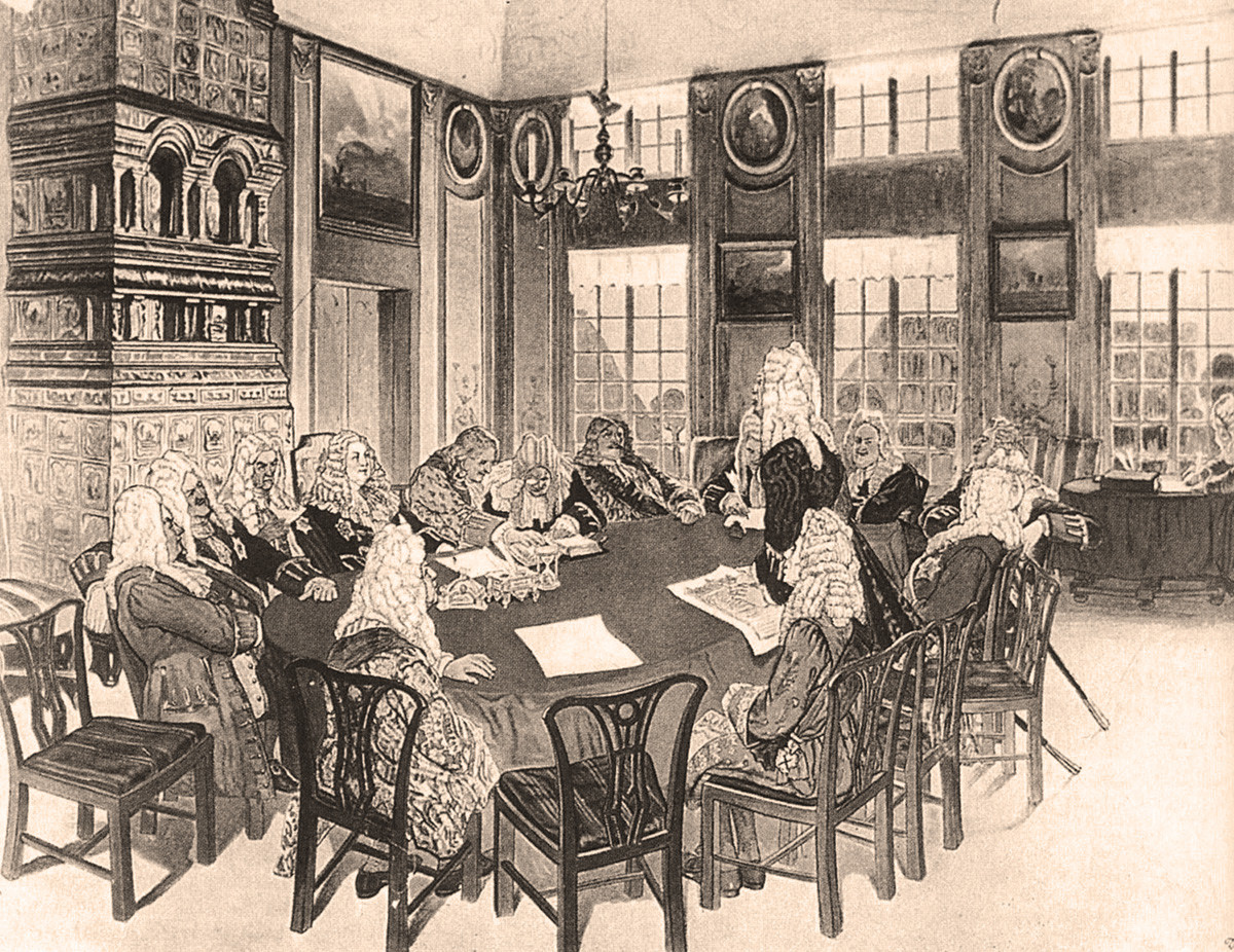 The meeting of the Governing Senate during Peter's reign