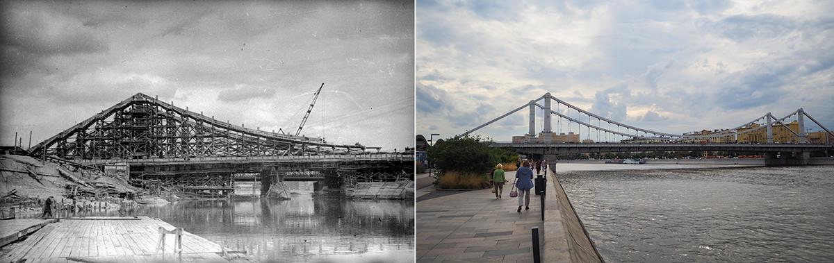 Panoramablick auf die Bolschoi-Krymsky-Brücke während des Baus (1933 / 2020)