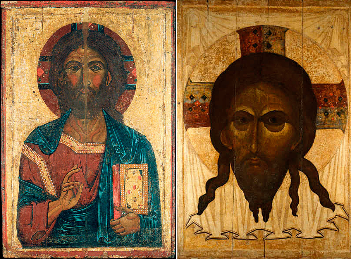 On the left: a 13th century icon of Christ Pantocrator; on the right: a 14th century icon of Christ of Edessa