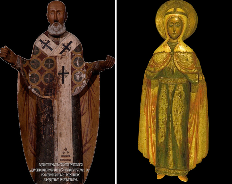 On the left: a 17th-century wooden statue of St Nicholas of Mozhaysk; on the right: a 17th century statue of the Great Martyr Paraskeva