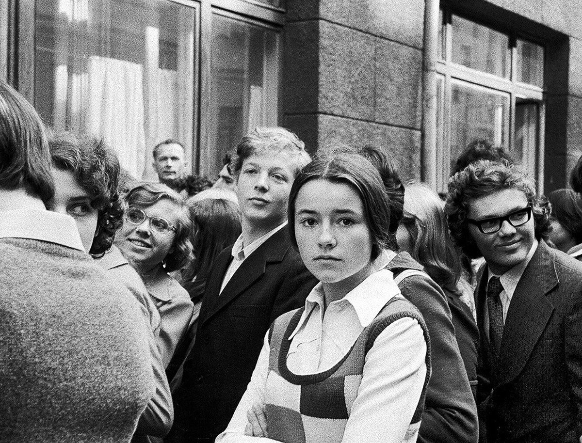 Students during freshmen day at the Moscow Institute of Electronics and Mathematics, 1976.