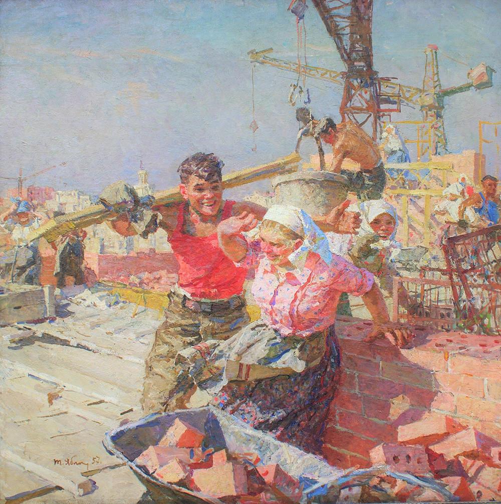 """Tatiana Iablónskaia. """"Sobre as obras de construção"""", 1957."""