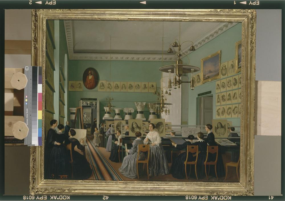 Ekaterina Khilkova / Vista interna del Dipartimento femminile della scuola di disegno per studenti esterni di San Pietroburgo, 1855