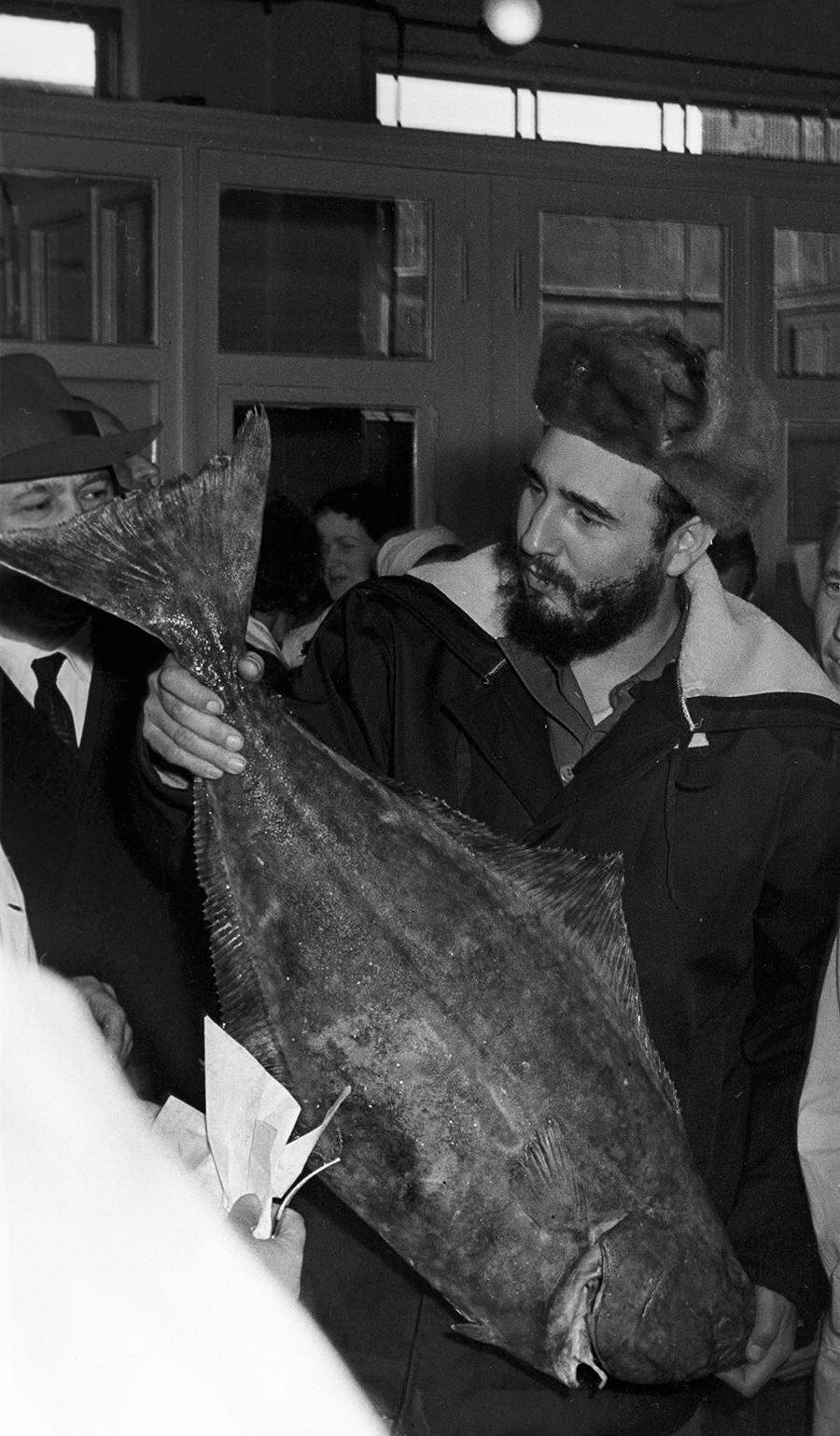 Presidente do Conselho de Estado e Conselho de Ministros da República de Cuba, líder da revolução cubana Fidel Castro visita fábrica de peixes em Murmansk, URSS