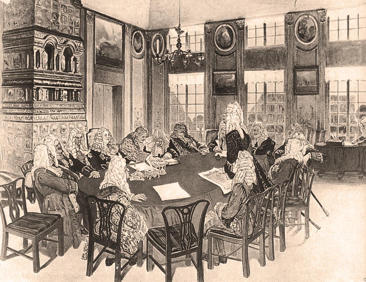 Заседание на Сенатот во времето на Петар Први во Екатерингофскиот дворец.