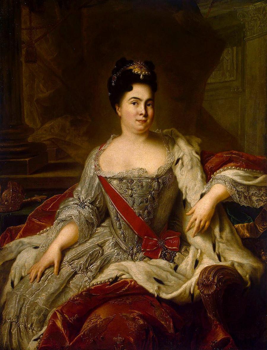 Портрет на императрица Екатерина I (1684-1727), 1717. Жан-Марк Натие (1685-1766). Намерен в колекцията на Държавния Ермитаж, Санкт Петербург