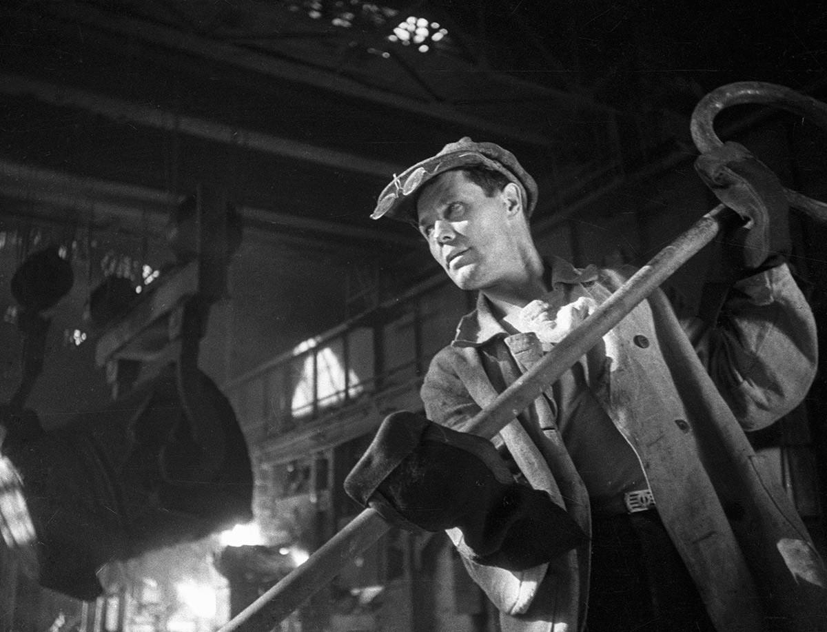 Trabalhador da Usina Metalúrgica Magnitogorsk, 1937.