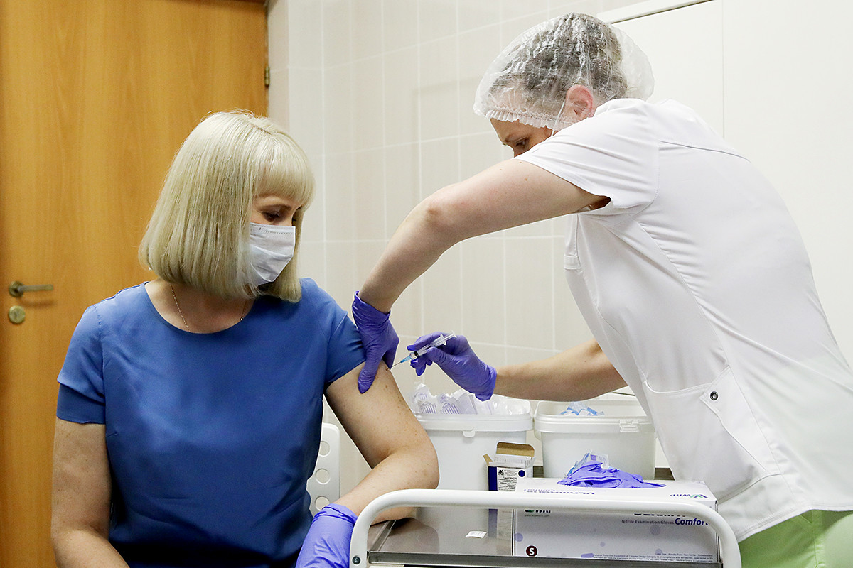 Volunteers take part in post - registration trials of the Russian COVID-19 vaccine