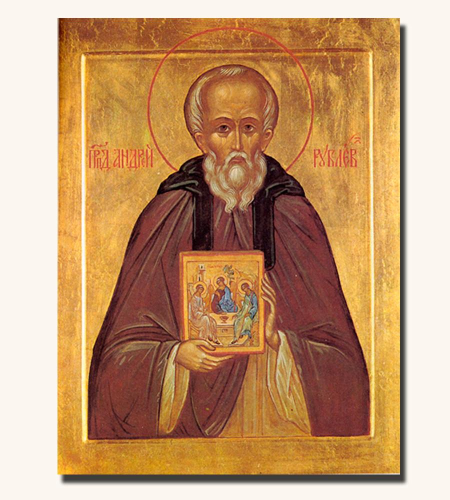 Icona di Andrej Rubljov con in mano l'icona della Trinità