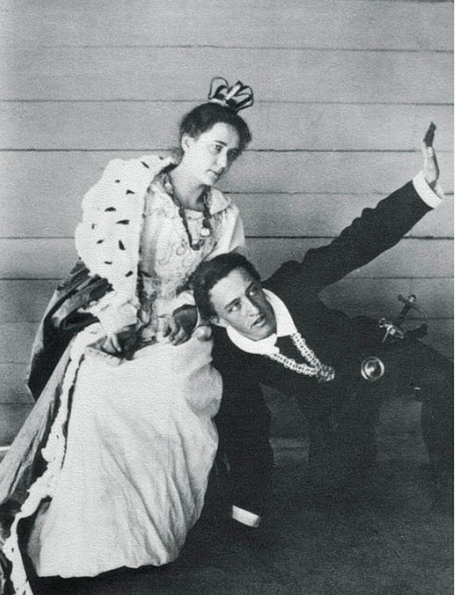 Alexander Blok and Lyubov Mendeleeva acting a scene from W. Shakespeare's play 'Hamlet'. Summer 1898