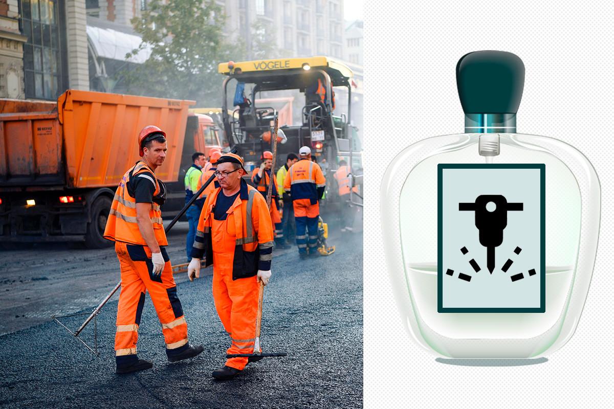 Workers change the asphalt on Tverskaya street in Moscow