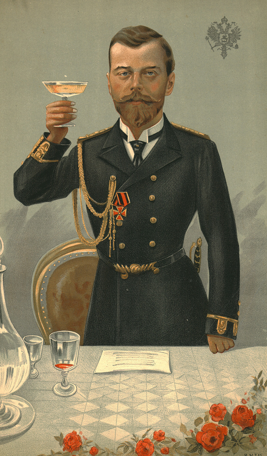 'The Little Father', 1897. Portrait of Tsar Nicholas II of Russia (1868-1918), raising a toast. Published in Vanity Fair, 21 October 1897. Artist Jean Baptiste Guth.