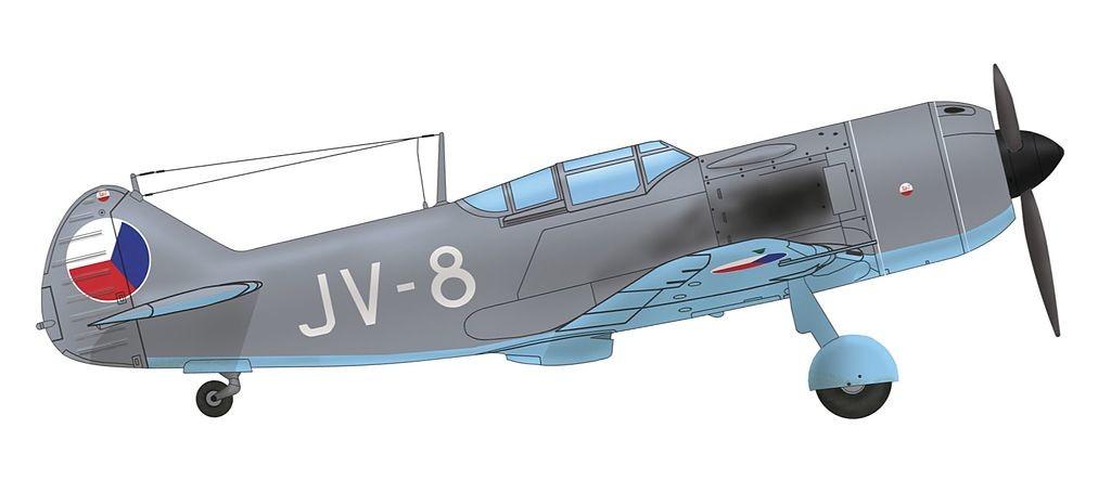 Esquema de pintura del Lavochkin La-7 de los regimientos aéreos de caza 1º y 2º vuelo, de la 4a división aérea de la Fuerza Aérea Checoslovaca, 1947