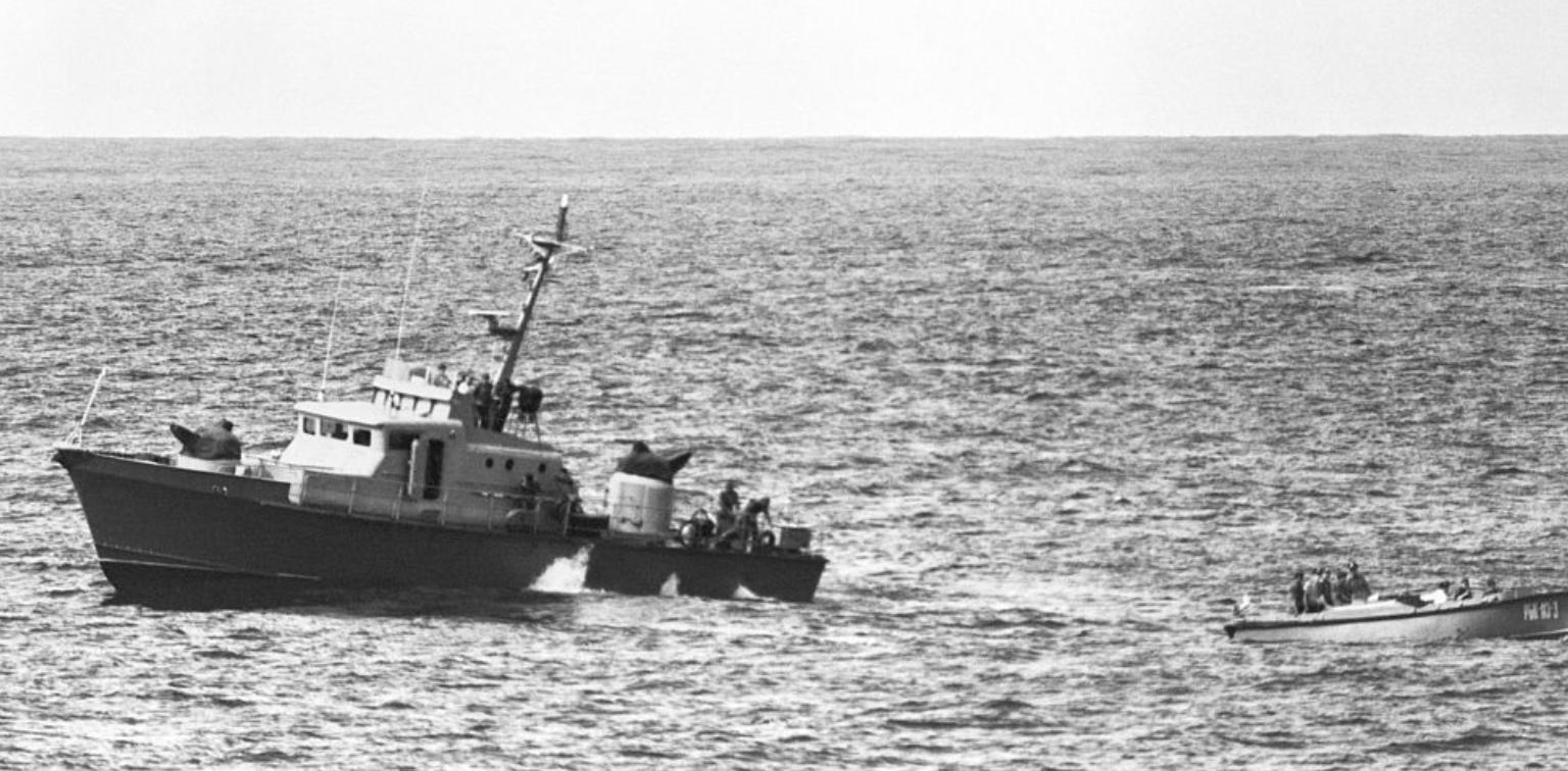 Поглед на прамац кубанског патролног брода Пројекта 1400, 1984.