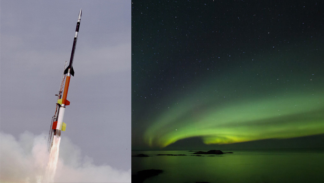 Black Brant XII/Pemandangan Aurora Borealis di atas Pusat Antariksa Andoya di Andenes, Norwegia.
