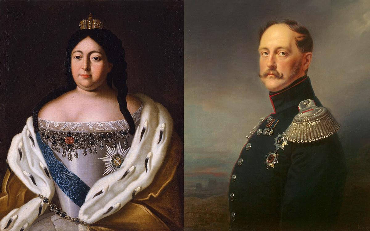 アンナ・ヨアーノヴナ女帝(左、1693-1740)とニコライ1世(右、1796-1955)