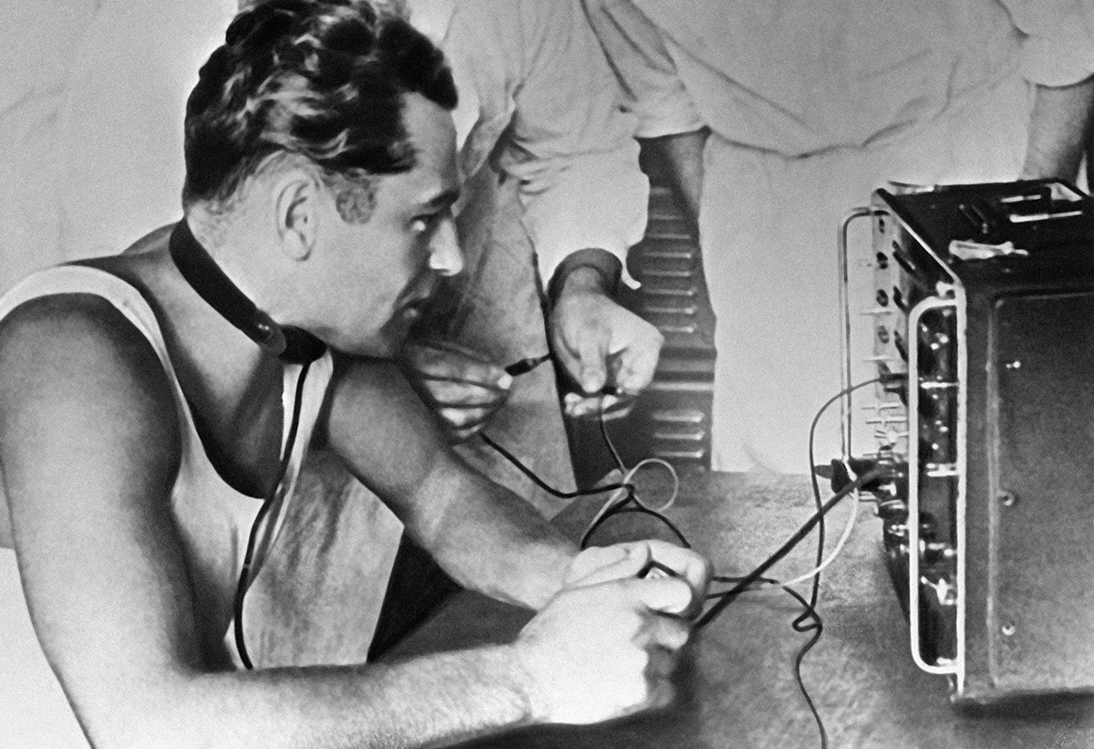 Gherman Titov receiving training in 1961.