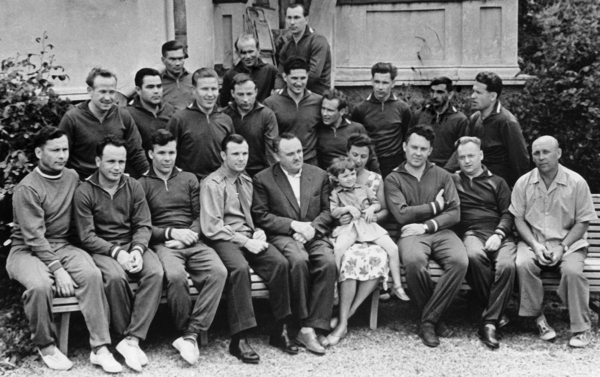 Members of the first group of Soviet cosmonauts in 1961. Second row (left to right): Alexei Leonov, Andriyan Nikolayev, Mars Rafikov, Dmitry Zaikin, Boris Volynov, Gherman Titov, Grigory Nelyubov, Valery Bykovsky, Georgy Shonin.