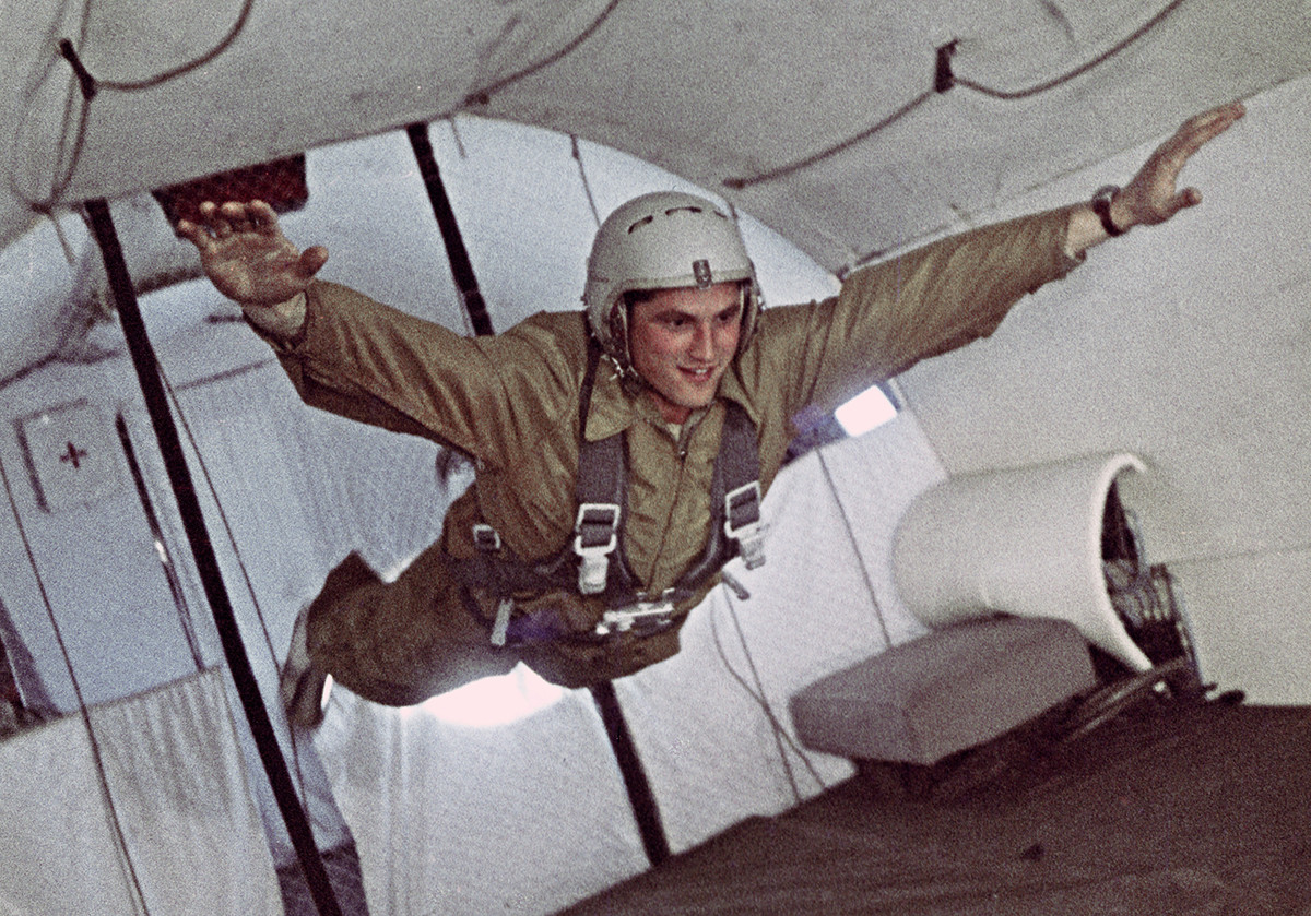 Boris Volynov enjoying the weightlessness of space during training in 1965.