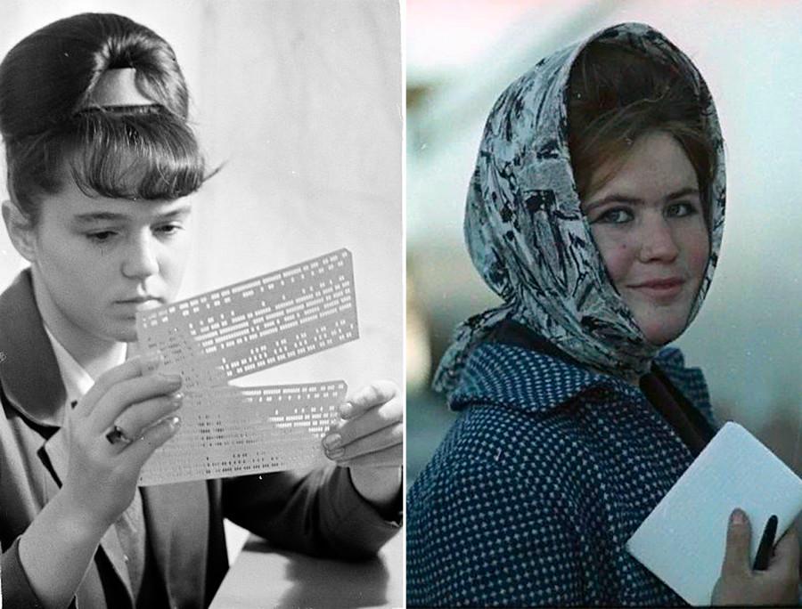 À gauche : une opératrice d'ordinateur central, 1960. À droite : une femme à Arkhangelsk, ville russe située dans le Nord du pays, 1965