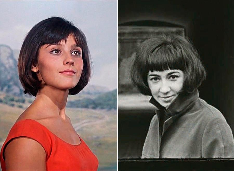 À gauche : l'actrice soviétique Natalia Varleï dans le film La Prisonnière du Caucase; À droite : une jeune femme à Moscou
