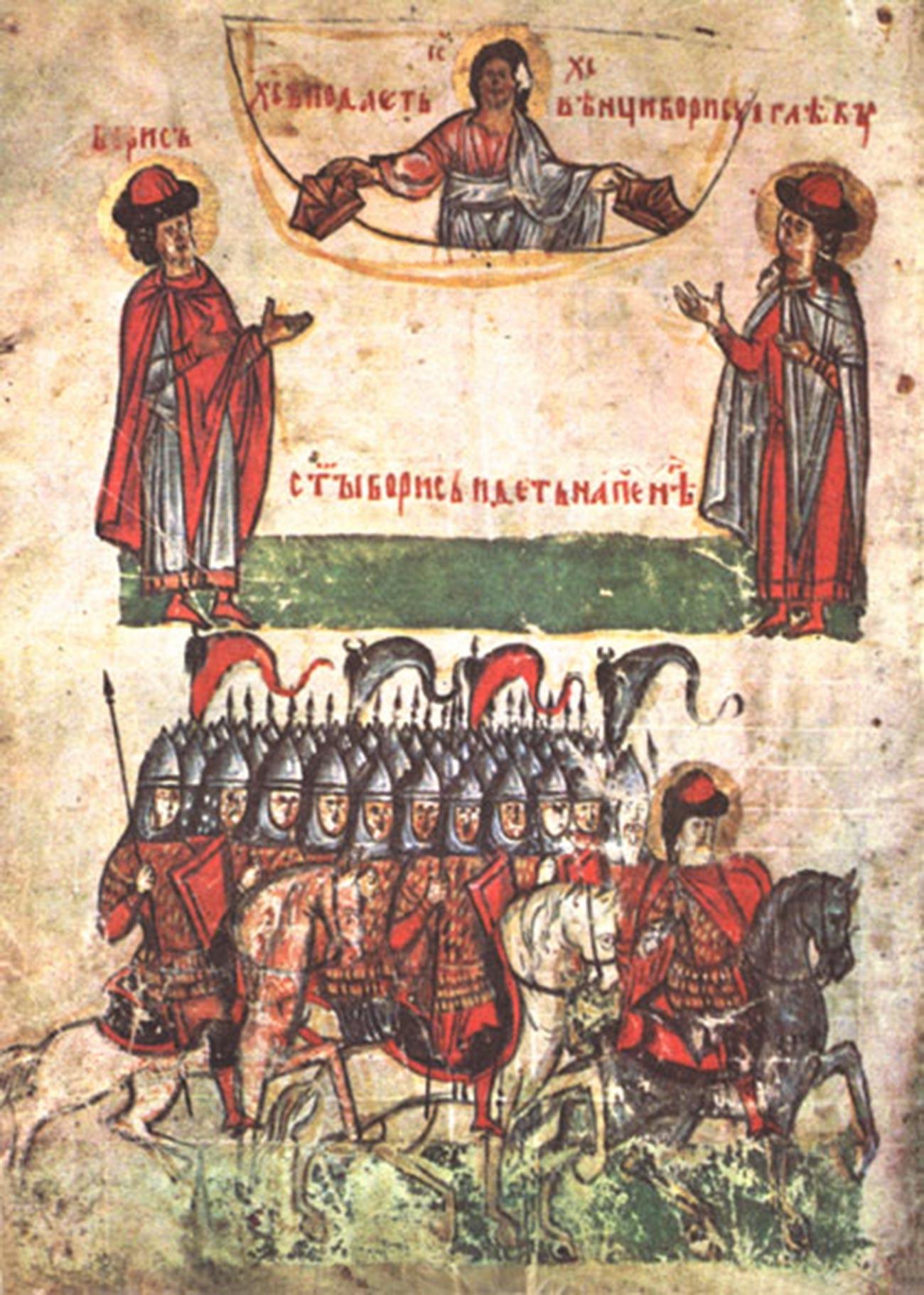 Une droujina commandée par un knyaz sur une miniature du XIVe siècle