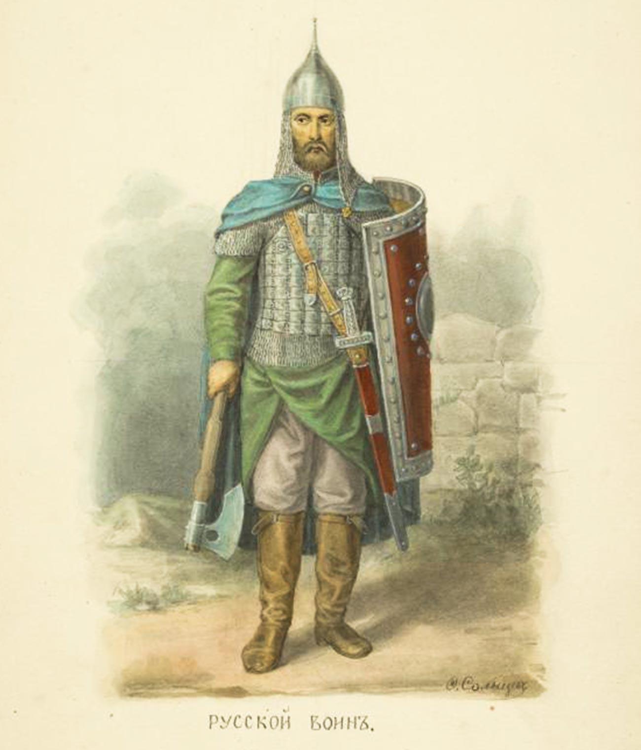 Représentation d'un ancien guerrier russe