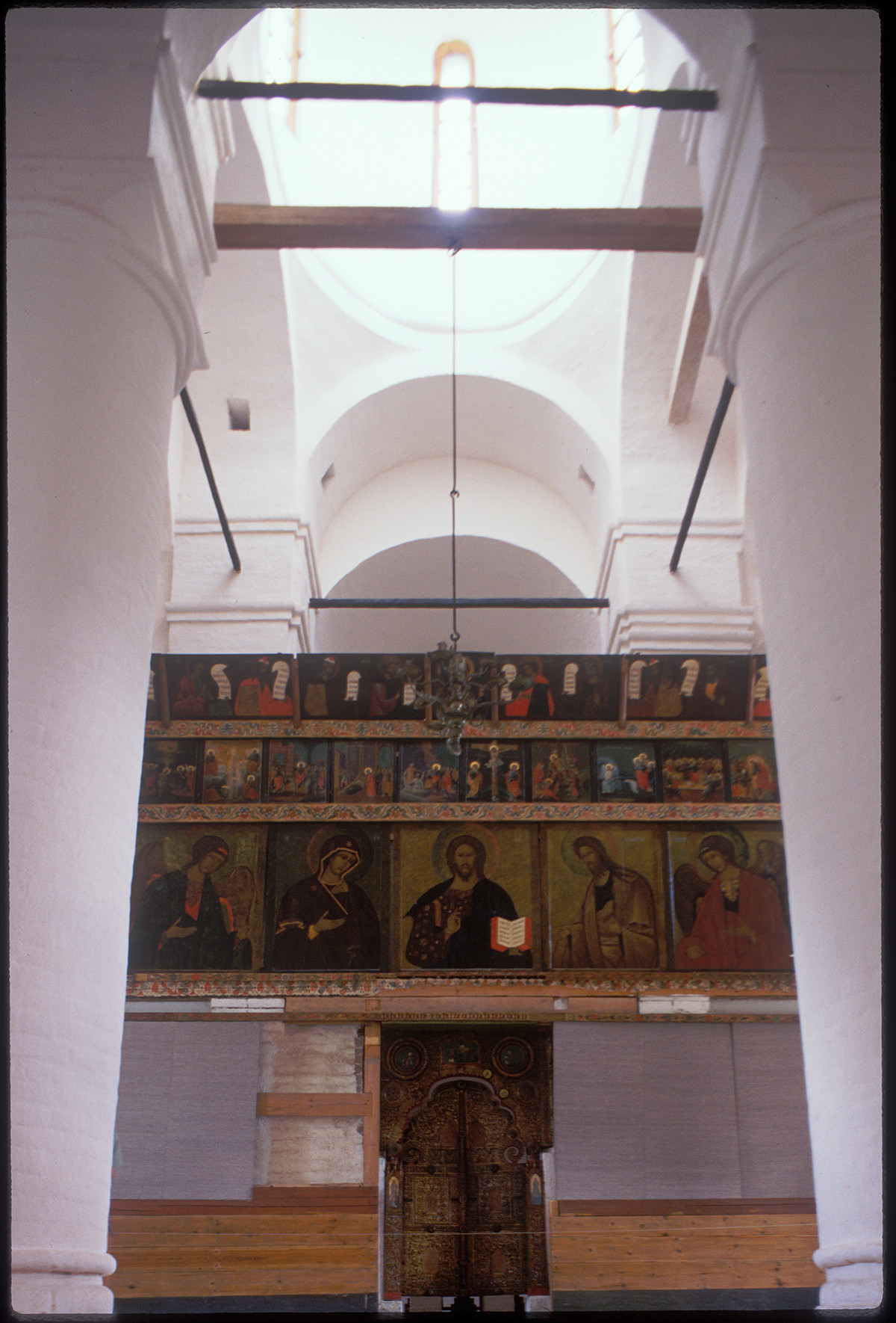 Church of St. John Climacus over Holy Gate. Interior, view east toward icon screen. July 15, 1999