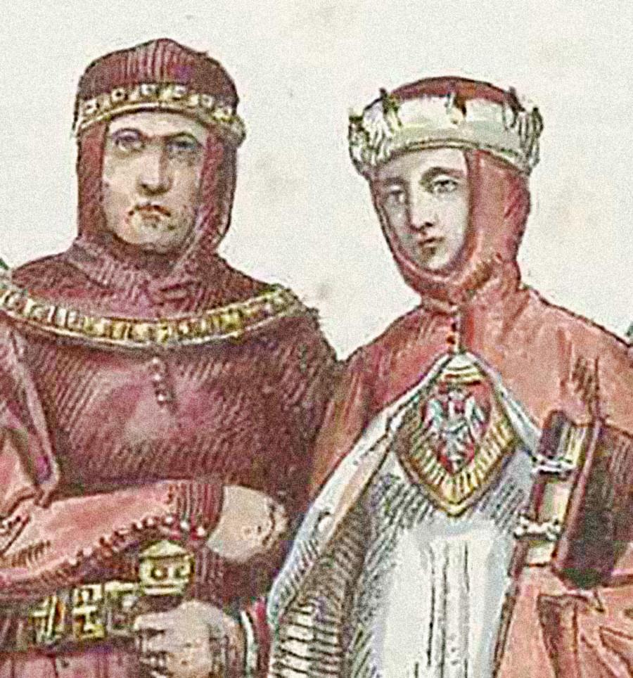 Il duca polacco Corrado I di Masovia (Konrad I Mazowiecki) con la moglie, disegno del XIX secolo